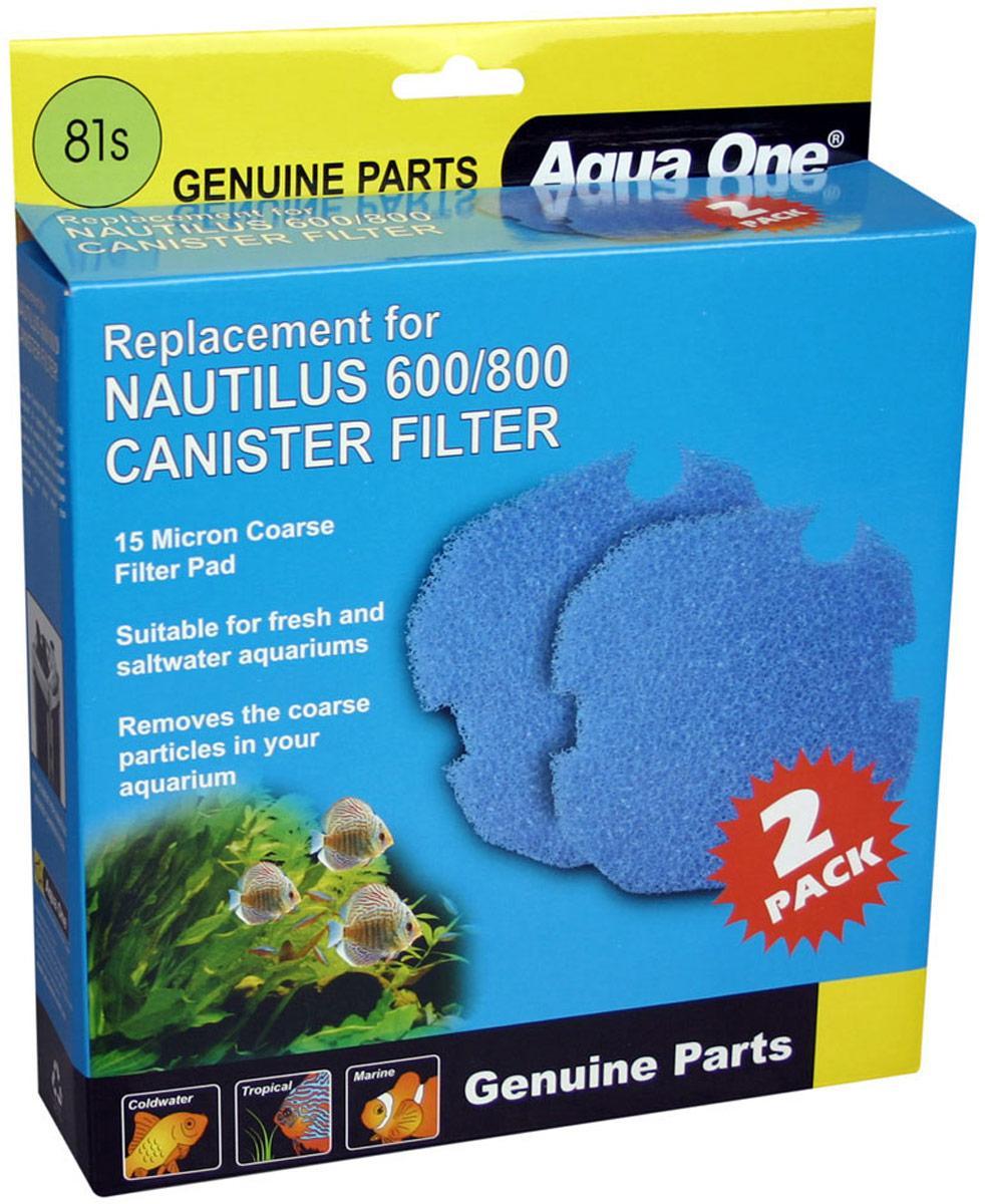 Губка грубой очистки Aqua One Nautilus 600/800, для внешних фильтров, 15 PPI, 2 шт губка hydor filter sponge for professional черная фильтрующая губка для внешних фильтров professional 450 и 600