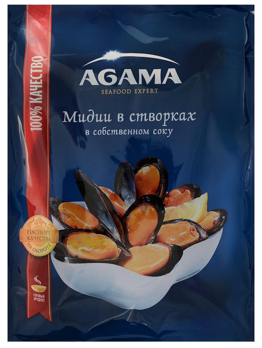 Agama Мидии в створках, варено-мороженые, в собственном соку, 450 г agama семга слабосоленая филе с кожей замороженное 200 г