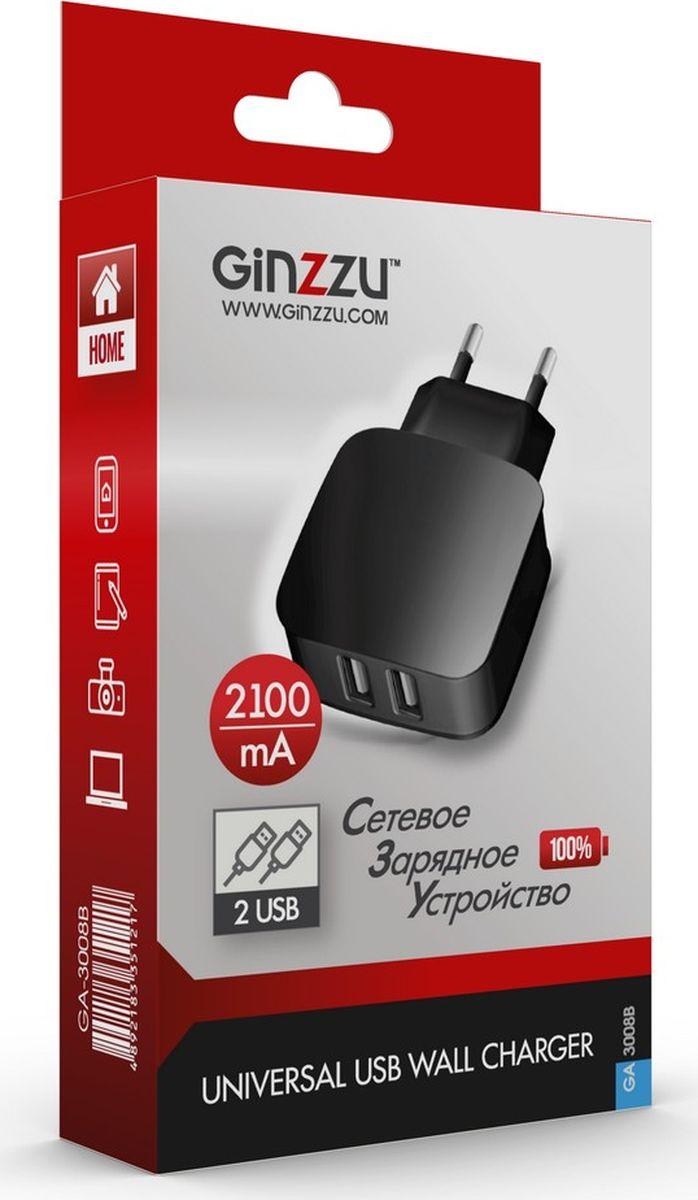 Фото - Ginzzu GA-3008B, Black сетевое зарядное устройство (2,1 A) автомобильное зарядное устройство ginzzu ga 4502ub азу 5в 2 4a qc3 0 5v 9v 12v