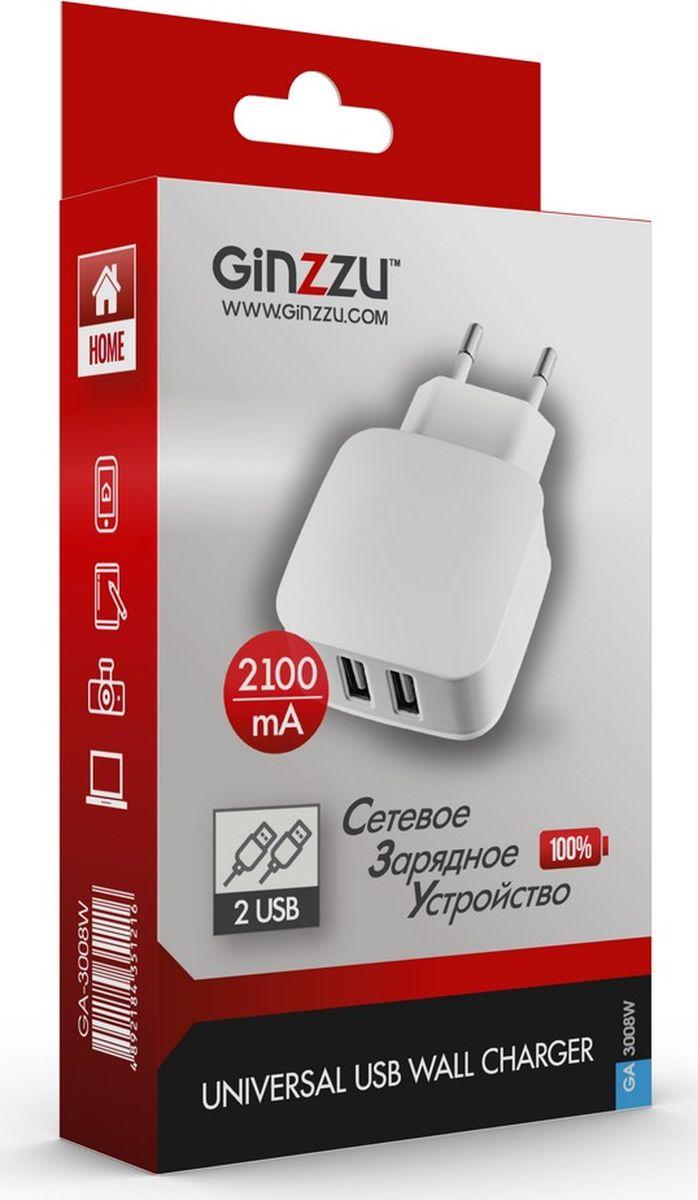 Фото - Ginzzu GA-3008W, White сетевое зарядное устройство (2,1 A) автомобильное зарядное устройство ginzzu ga 4502ub азу 5в 2 4a qc3 0 5v 9v 12v