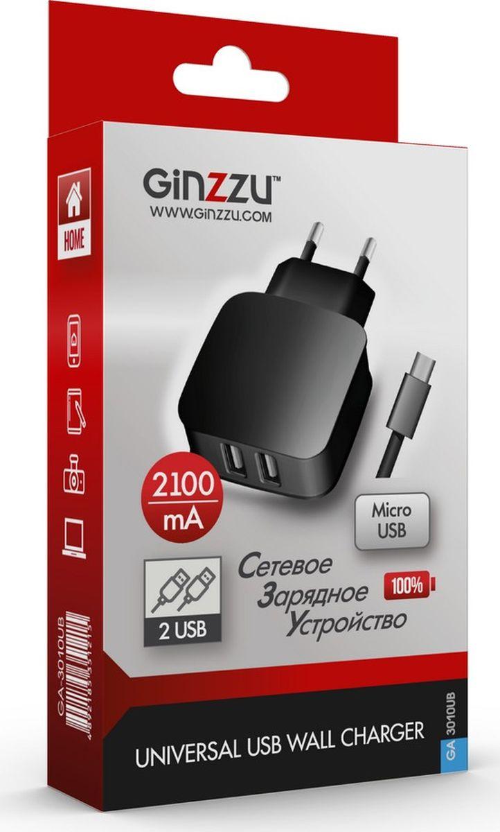 Ginzzu GA-3010UB, Black сетевое зарядное устройство + кабель micro USB ginzzu ga 3003b black сетевое зарядное устройство 1 2 a