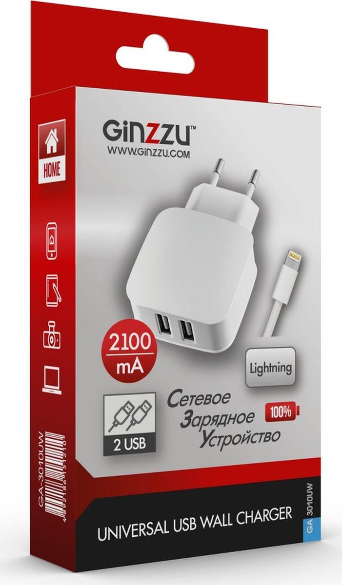 Ginzzu GA-3010UW, White сетевое зарядное устройство + кабель Lightning телефон зарядное устройство белый k088 сотовый capshi apple зарядное устройство 5v 2 4a подходит для huawei проса телефонов meizu oppo vivo samsung android