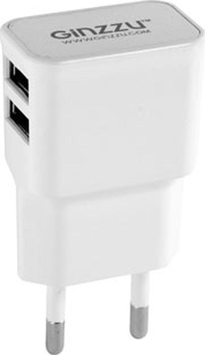 Ginzzu GA-3210UW, White сетевое зарядное устройство (2,1 A) сетевое зарядное устройство ginzzu ga 3312ub 2xusb microusb 3 1a черный