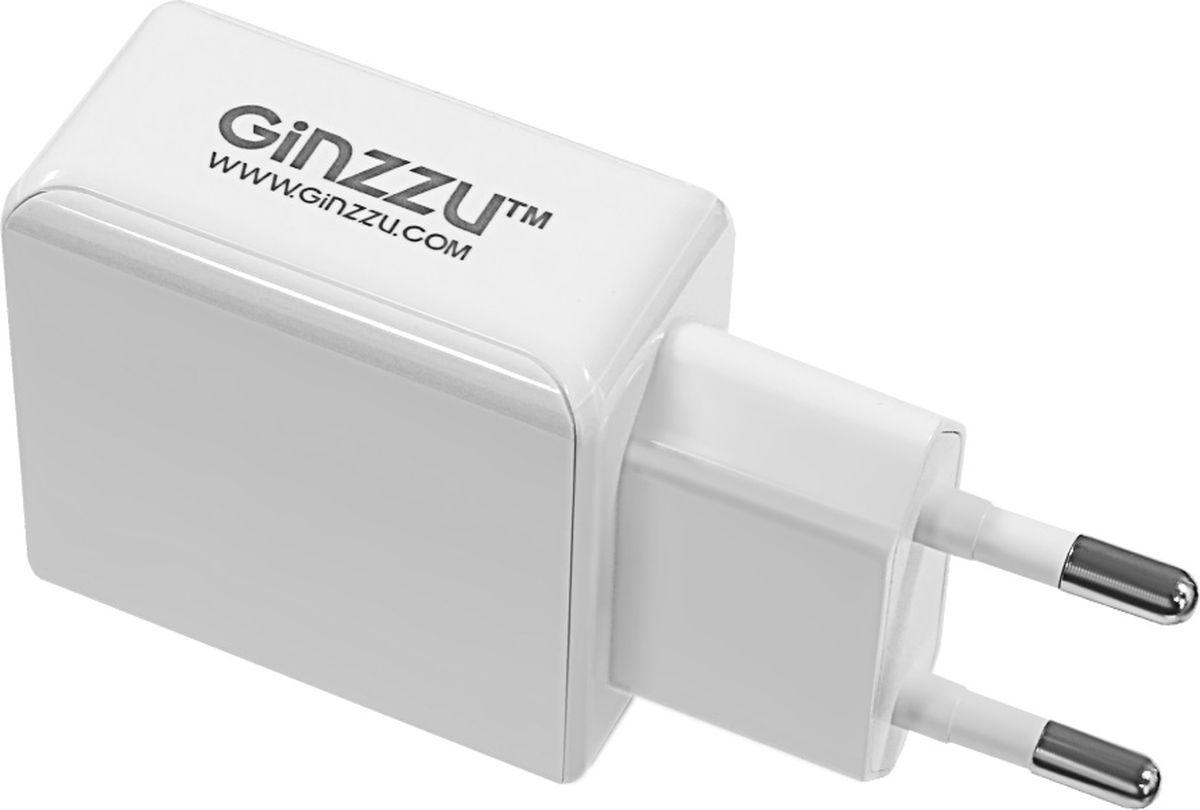 Ginzzu GA-3313UW, White сетевое зарядное устройство + кабель Lightning ginzzu ga 3003b black сетевое зарядное устройство 1 2 a
