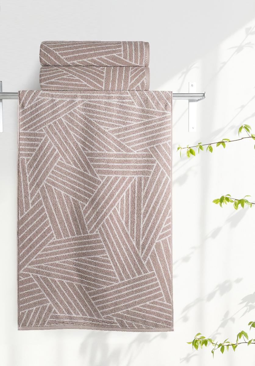 """Полотенце махровое Aquarelle """"Мербау 2"""", цвет: бежевый, коричневый, 70 х 140 см"""