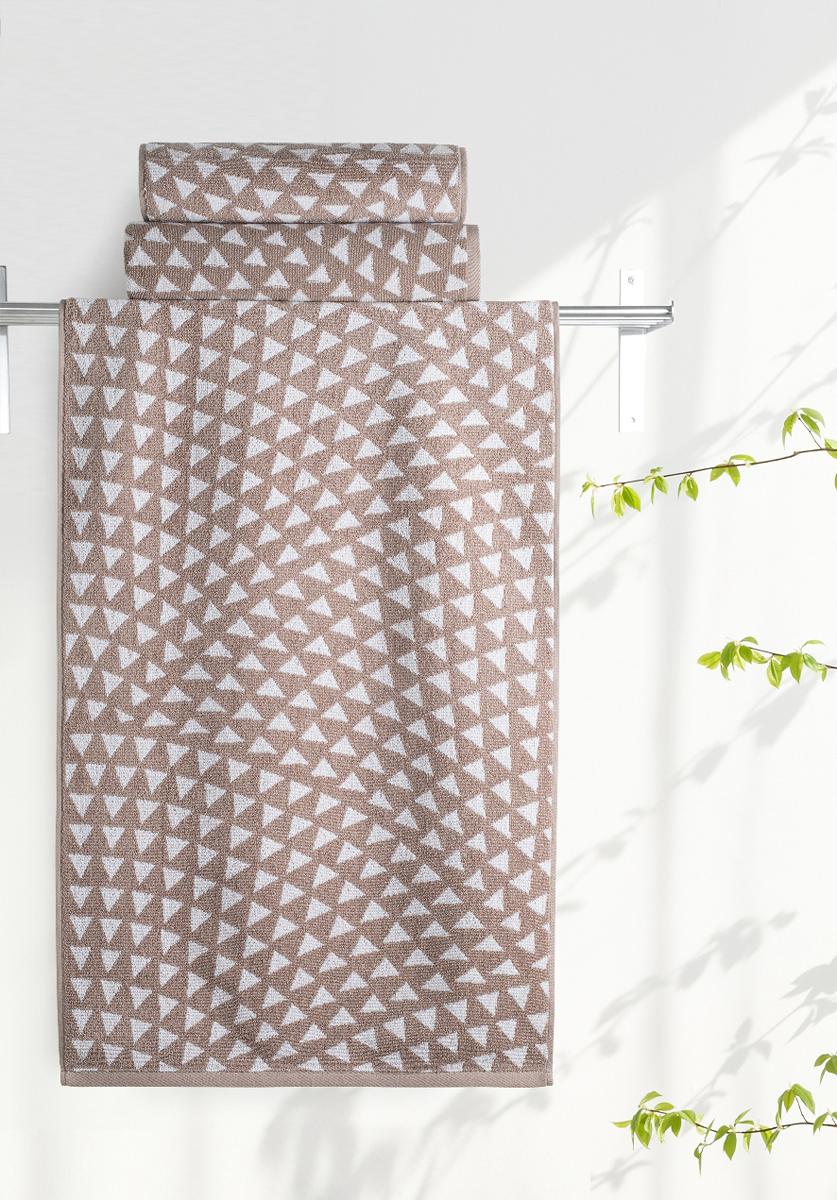 """Полотенце махровое Aquarelle """"Борнео 2"""", цвет: коричневый, белый, 70 х 140 см"""