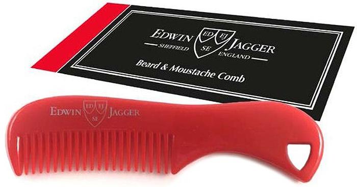 Edwin Jagger Расческа для бороды и усов, цвет: красный цена и фото