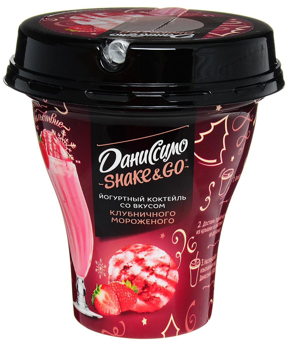 Даниссимо Йогуртный коктейль Клубничное мороженое 5,2%, 260 г молочный коктейль даниссимо со вкусом мороженого крем брюле 2 5% 215 г