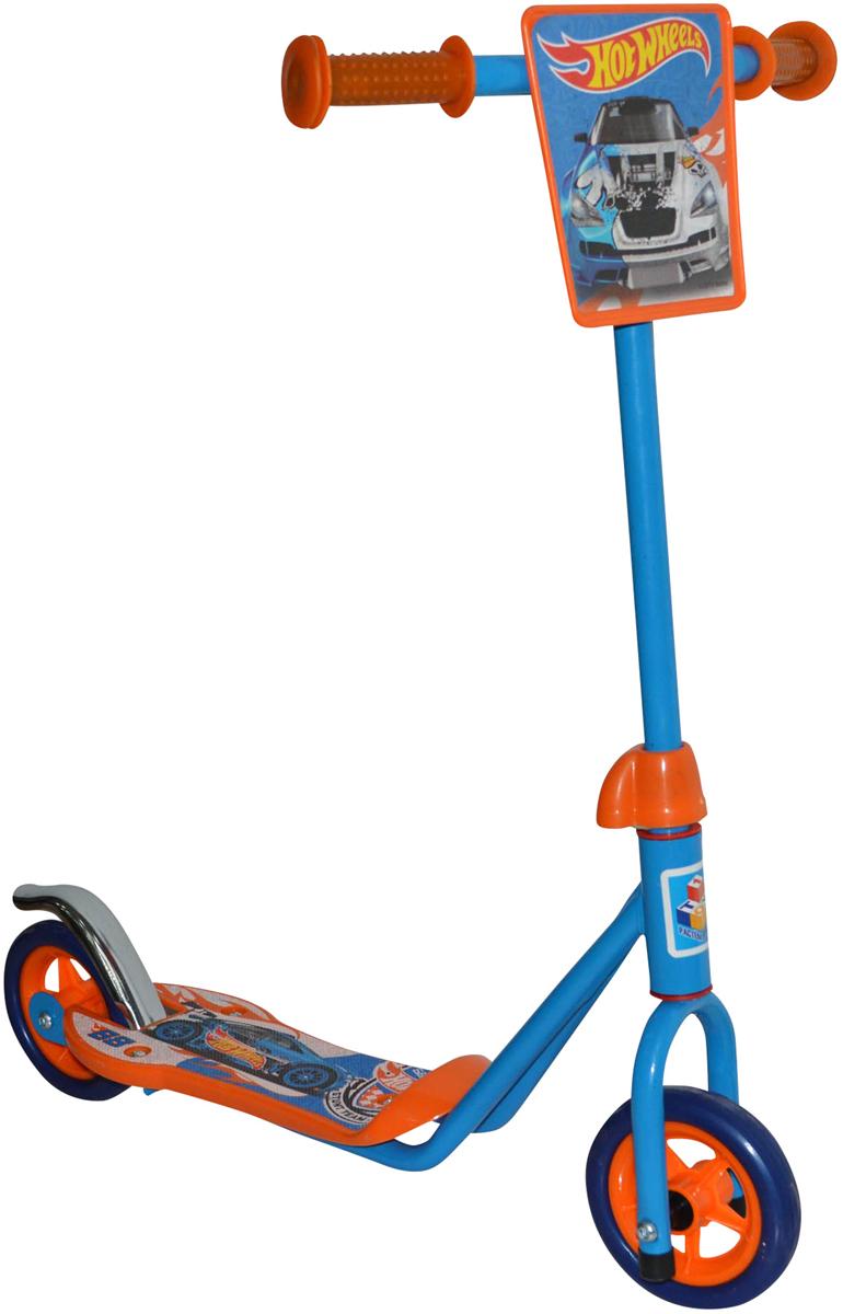1TOY Самокат двухколесный Hot Wheels цвет оранжевый голубой самокат hot wheels