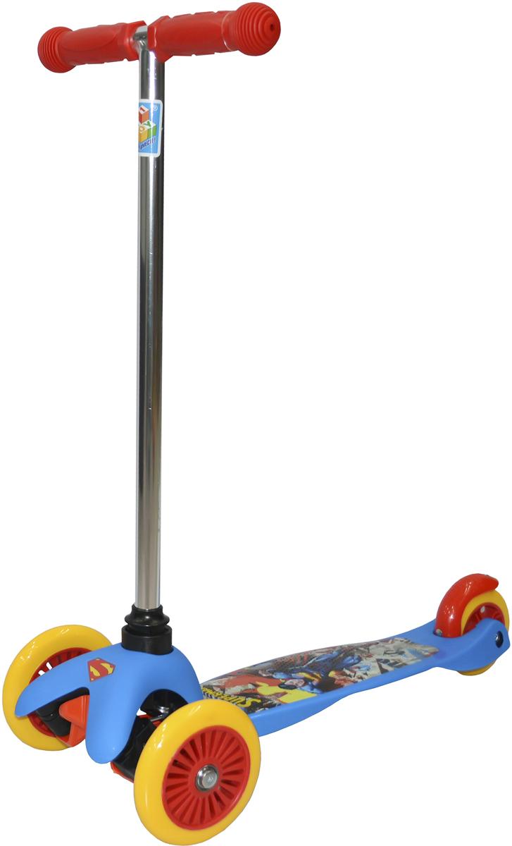 Самокат детский 1 Toy Супермэн, 3-колесный, цвет: синий. Т59561 самокат 1 toy navigator 2 колесный т59559