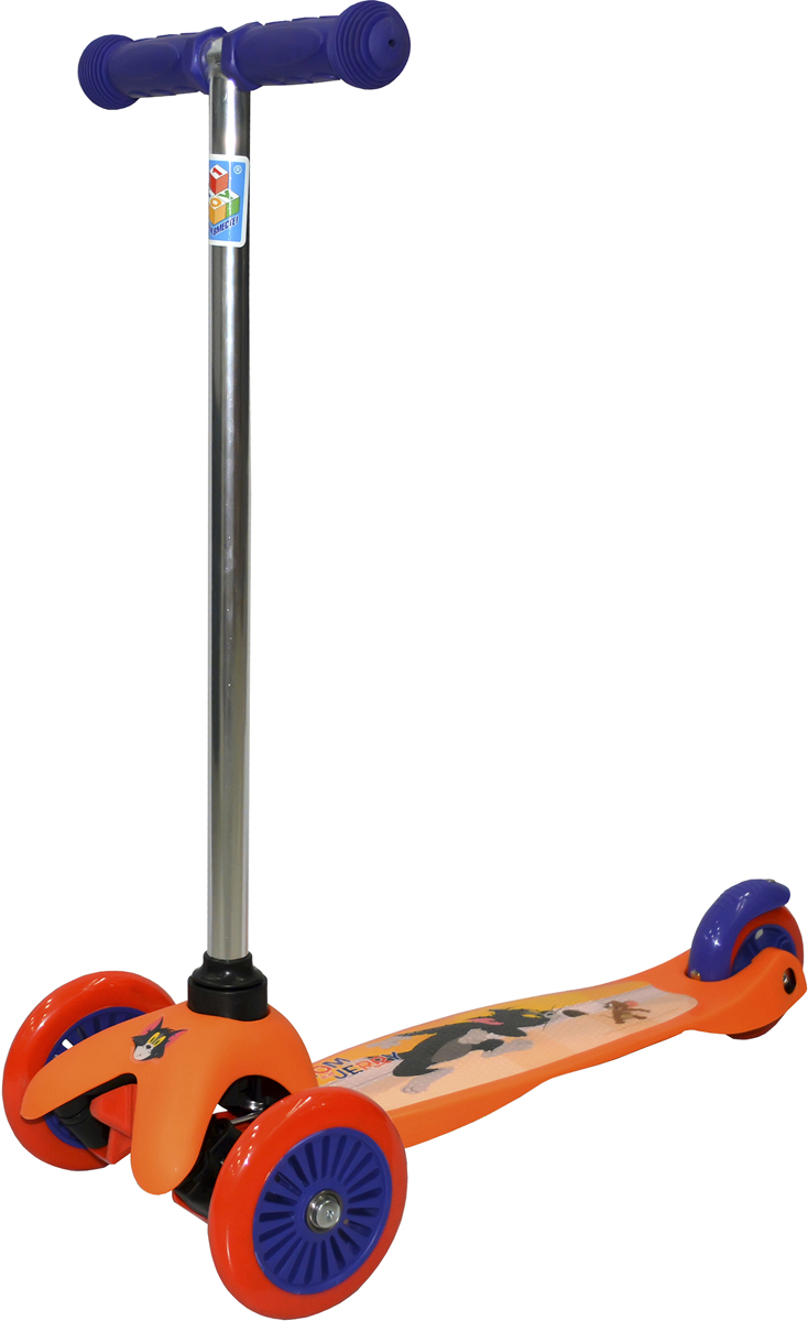 Самокат детский 1 Toy Том и Джерри, 3-колесный, цвет: оранжевый. Т59563 viplex viplex самокат 3 х колесный детский оранжевый