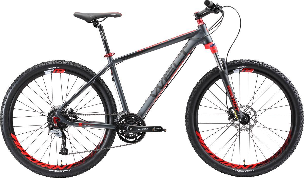 Велосипед горный Welt 2018 Rockfall 2.0 matt, цвет: серый, красный, рама M, колесо 27 вилка амортизационная suntour гидравлическая для велосипедов 26 ход 100 120мм sf14 xcr32 rl 26
