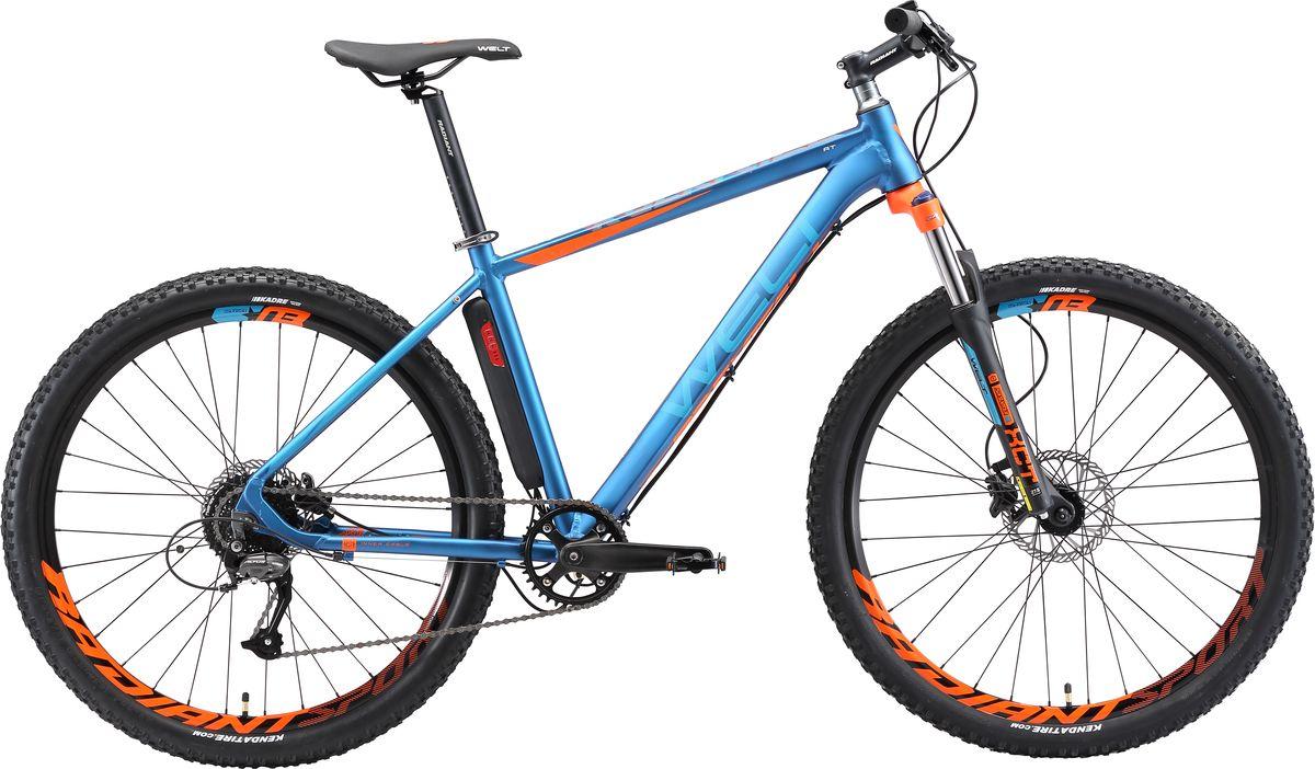 Велосипед горный Welt 2018 Rockfall AT matt, цвет: синий, оранжевый, рама M, колесо 27 вилка амортизационная suntour гидравлическая для велосипедов 26 ход 100 120мм sf14 xcr32 rl 26