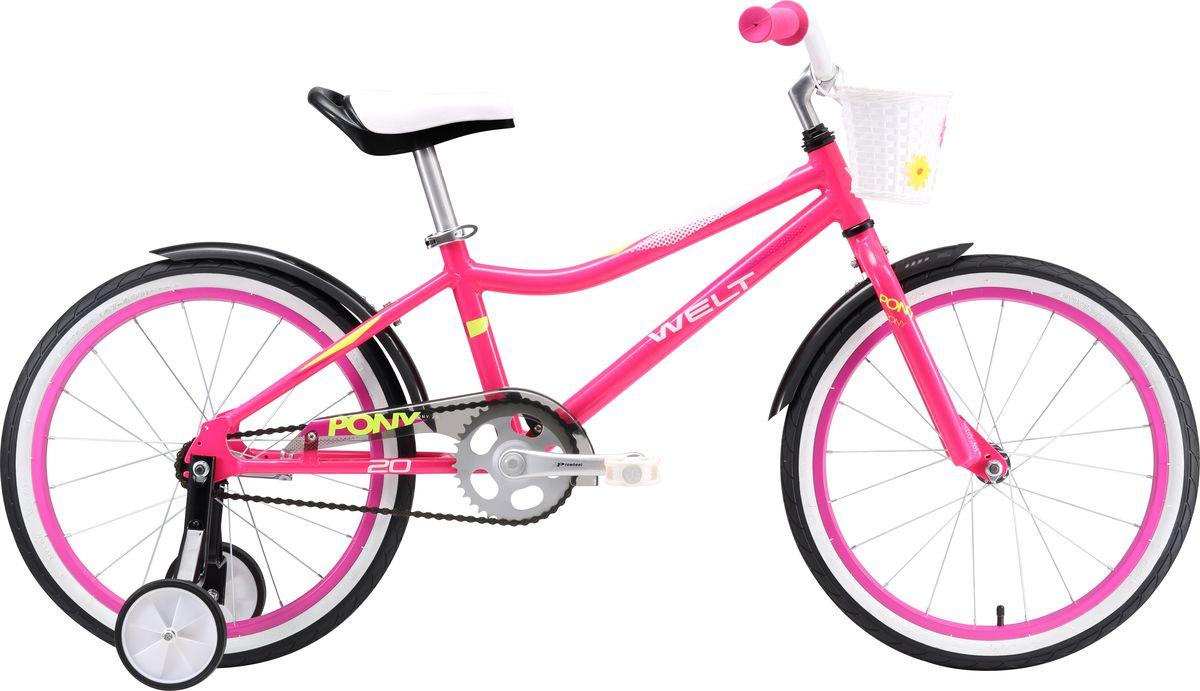 """Велосипед детский Welt """"2018 Pony"""", цвет: розовый, зеленый, колесо 20"""""""