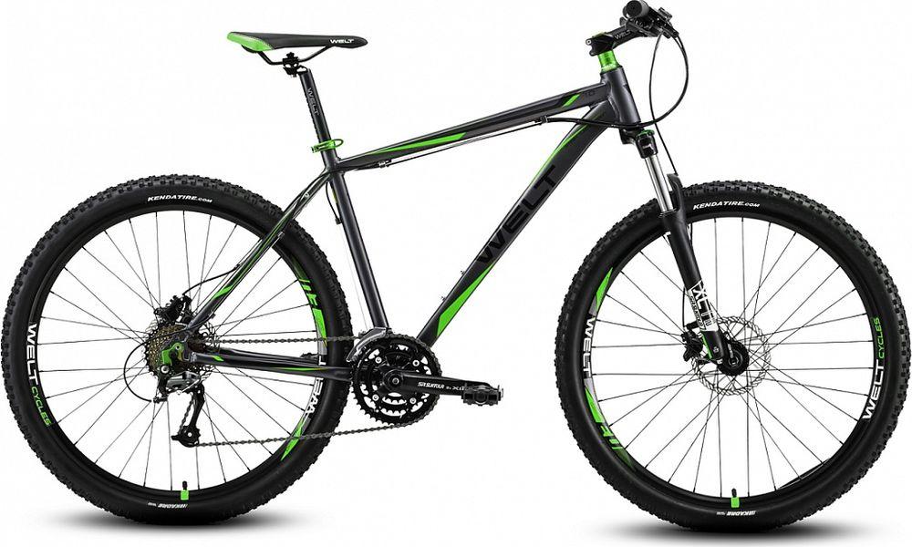 Велосипед горный Welt 2018 Rockfall 1.0 matt, цвет: серый, зеленый, рама L, колесо 27 вилка амортизационная suntour гидравлическая для велосипедов 26 ход 100 120мм sf14 xcr32 rl 26