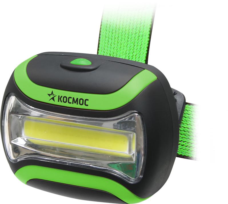 """Фонарь налобный Космос """"KOC-H3WCOBLED"""", цвет: черный, зеленый"""