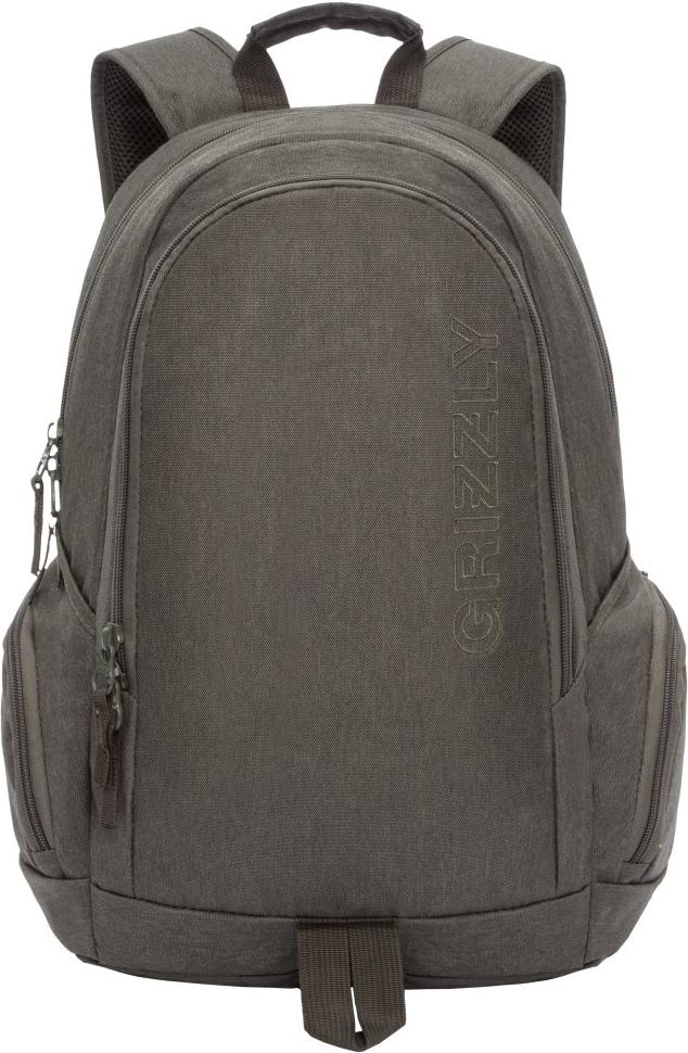 Рюкзак городской Grizzly, цвет: оливковый. RU-809-1/2 рюкзак городской grizzly цвет салатовый коричневый 23 л ru 619 2 2
