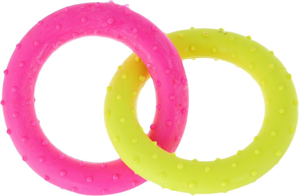 Игрушка для собак Уют Кольцо, цвет: розовый, желтый, 13,5 см, 2 шт игрушка для собак fat cat кот забияка цвет синий розовый