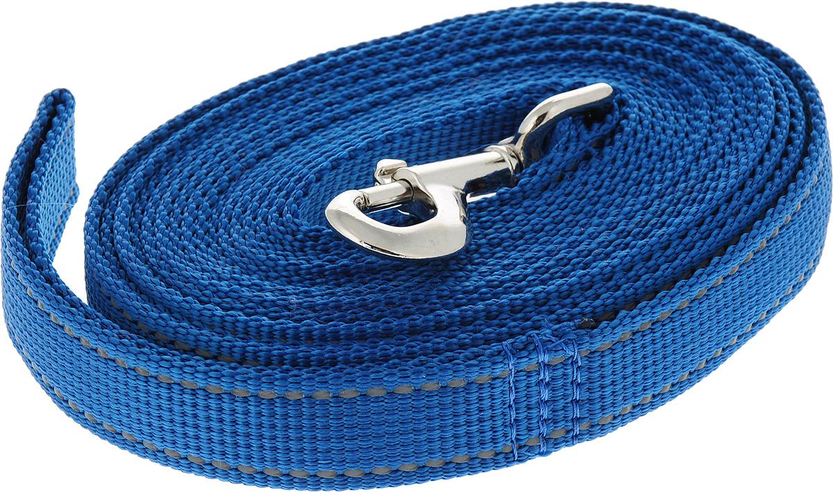 Поводок капроновый для собак Аркон, цвет: синий, ширина 2,5 см, длина 5 м поводок капроновый для собак аркон цвет розовый ширина 2 см длина 5 м