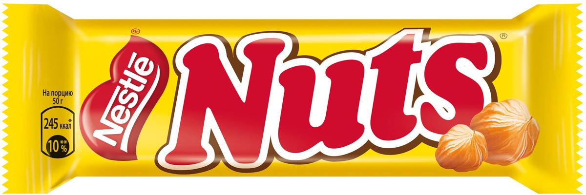 Nuts шоколадный батончик, 50 г nuts duo шоколадный батончик 66 г