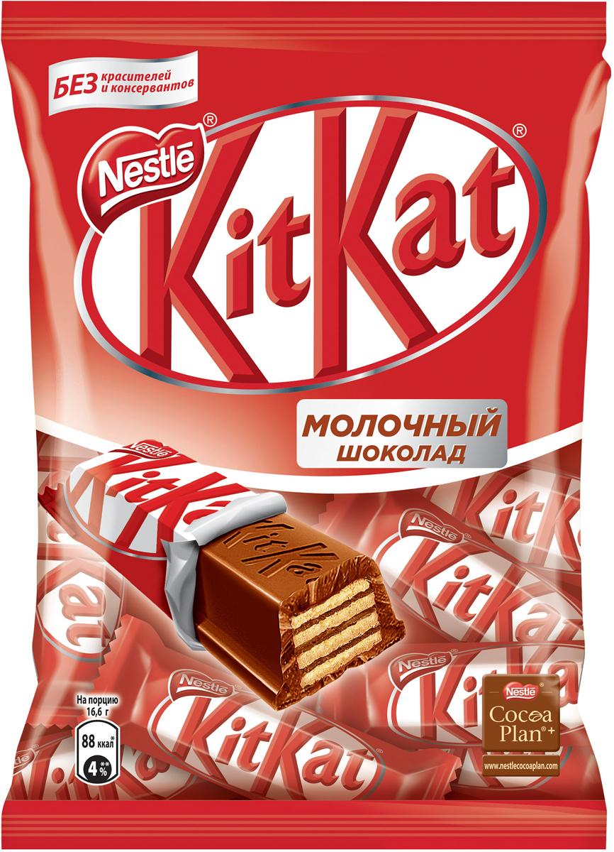 KitKat Mini молочный шоколад с хрустящей вафлей, 202 г шоколад молочный lindt creation пралине с вафлей 150 г