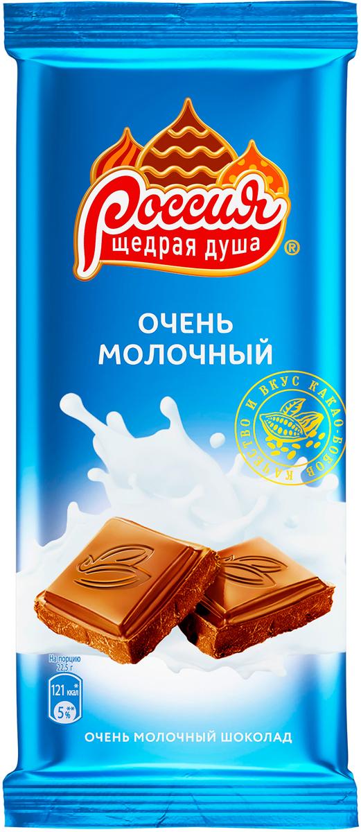 цена Россия-Щедрая душа! молочный шоколад, 90 г онлайн в 2017 году