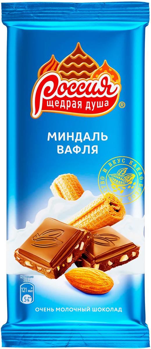 цена Россия-Щедрая душа! молочный шоколад с миндалем и вафлей, 90 г онлайн в 2017 году