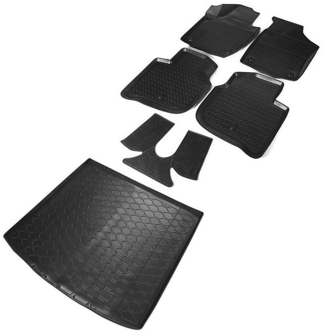 Комплект ковриков салона и багажника Rival для Skoda Rapid лифтбек 2013-2017 2017-н.в., полиуретан, с крепежом, с перемычкой, 6 шт. K15102001-2 комплект ковриков салона и багажника rival для skoda rapid 2013 н в полиуретан k15102001 2