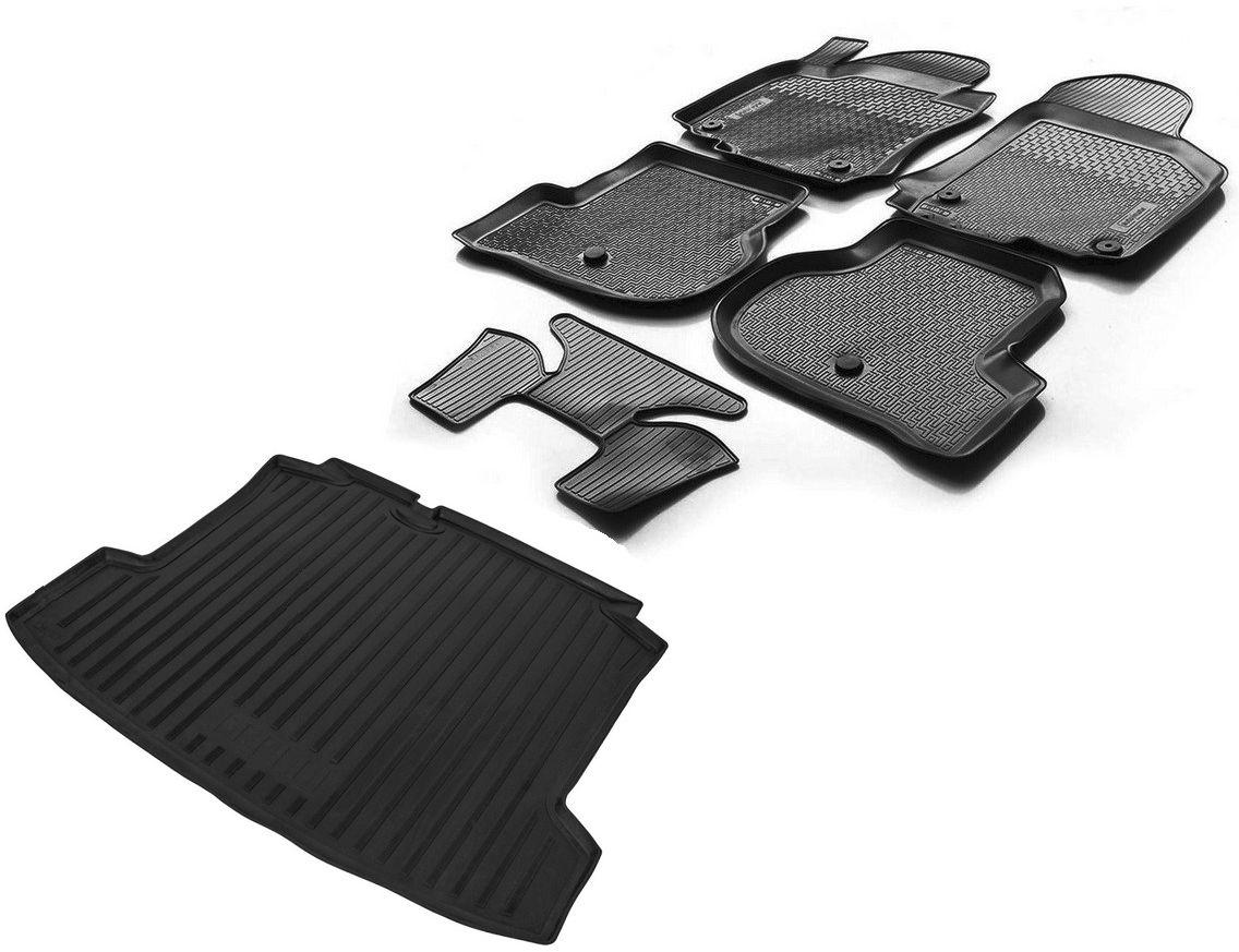 Фото - Комплект ковриков салона и багажника Rival для Volkswagen Polo V седан 2010-2015 2015-н.в., полиуретан, с крепежом, с перемычкой, 6 шт. K15804003-2 коврик в салон автомобиля element volkswagen polo седан 2010