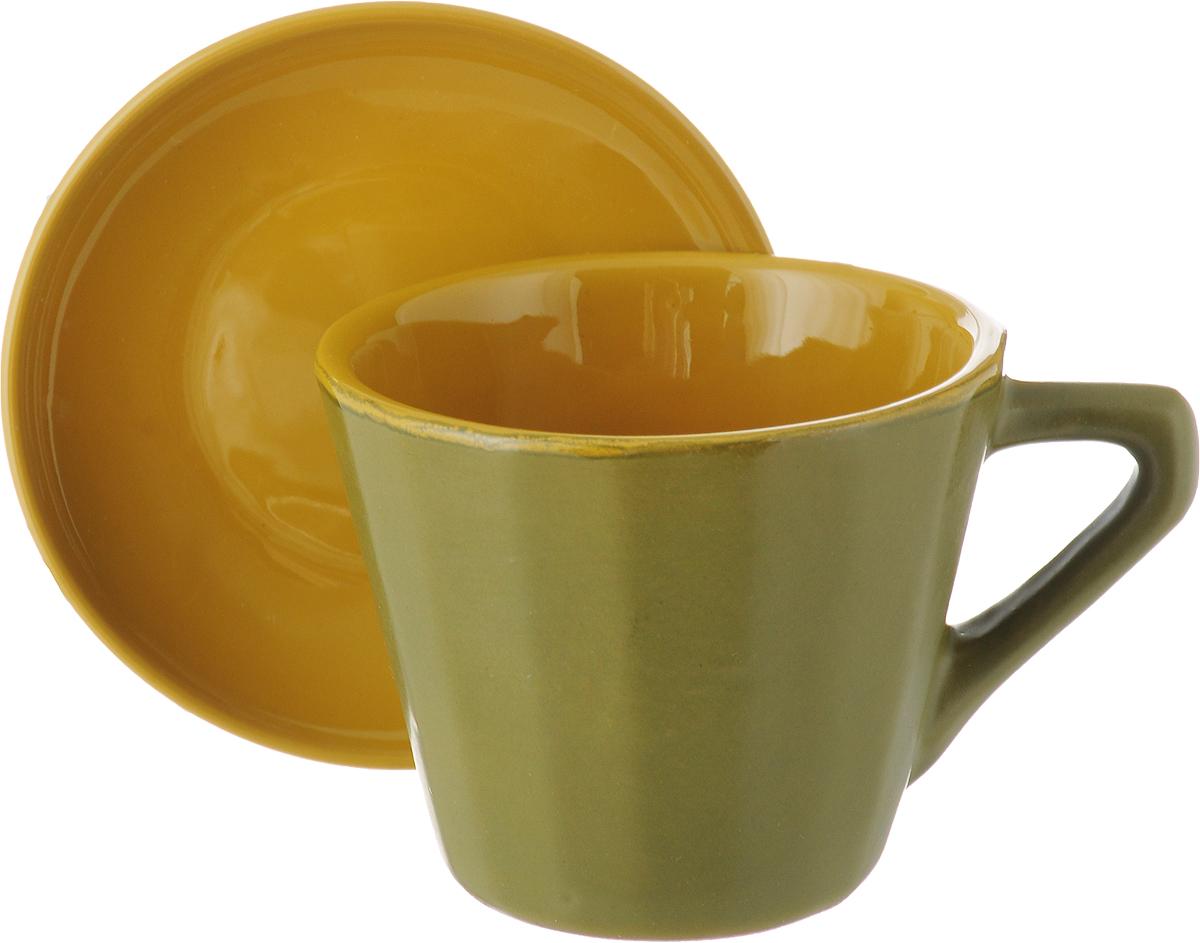 Чайная пара Борисовская керамика Ностальгия, цвет: оливковый, горчичный, 200 мл чайная пара борисовская керамика ностальгия цвет темно фиолетовый голубой 200 мл