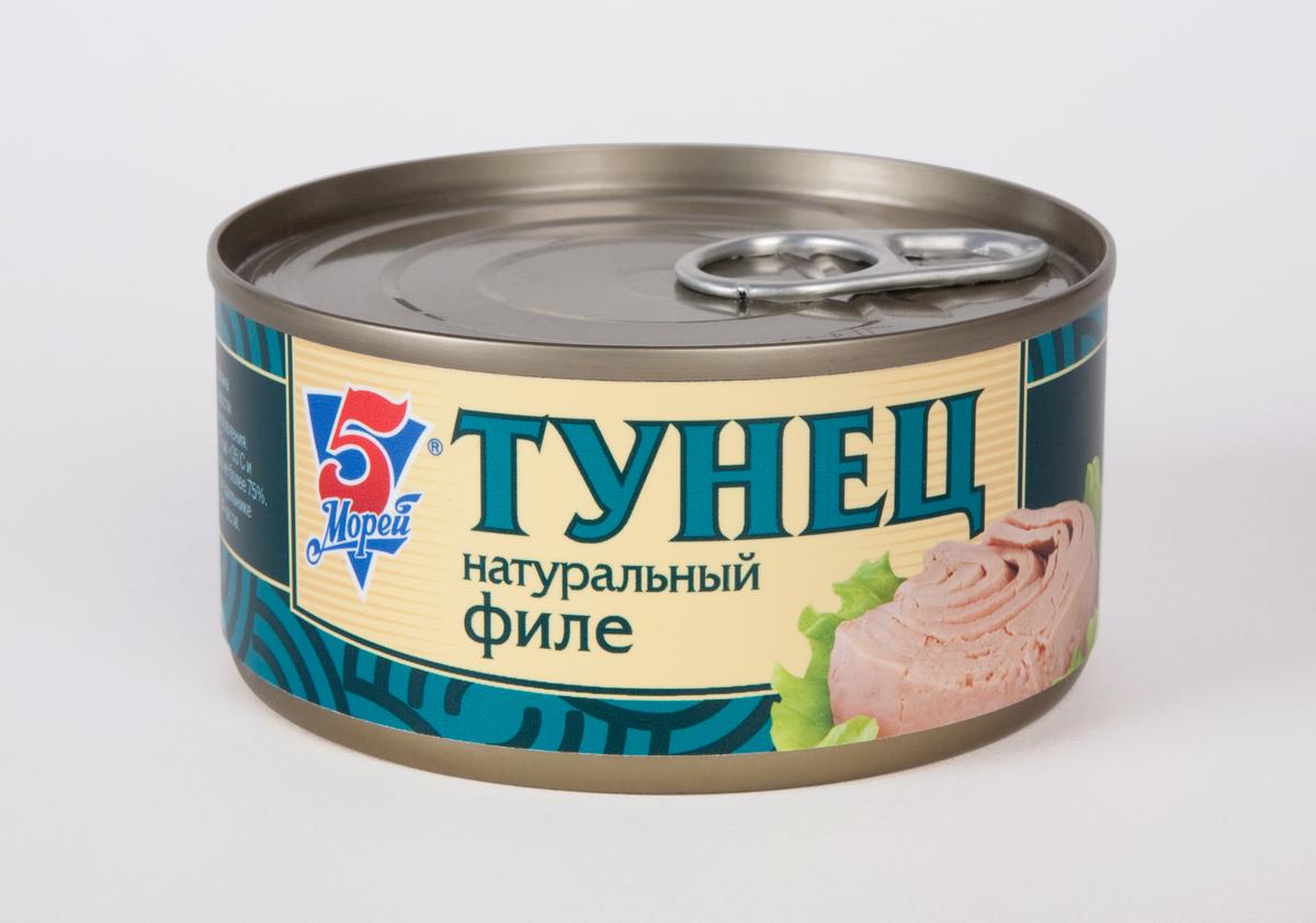5 Морей Тунец филе натуральный в собственном соку, 185 г