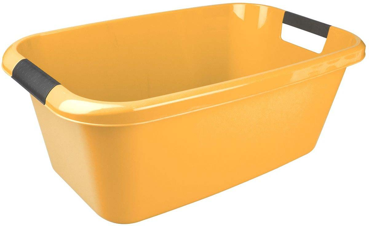 Таз Plast Team Lica, с ручками, прямоугольный, цвет: желтый, 20 л