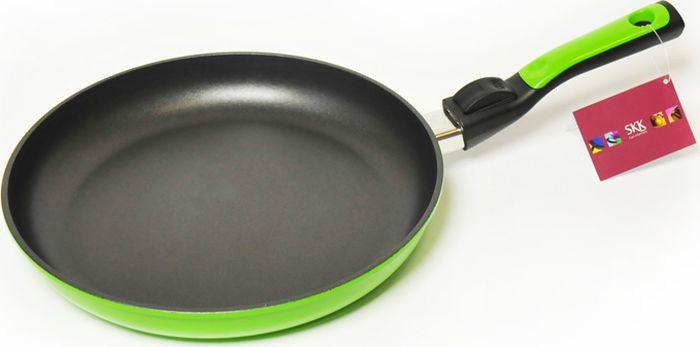 Сковорода SKK Titanium Light, со съемной ручкой, высота стенок 4 см, цвет: зеленый. Диаметр 24 см сковорода skk titanium 2000 со съемной ручкой высота стенок 7 5 см диаметр 20 см