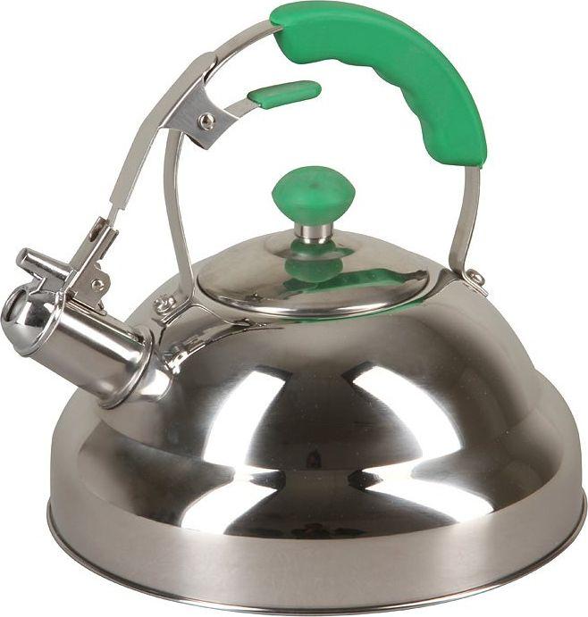 Чайник Pomi d'Oro Napoli, со свистком, цвет: серебристый, светло-зеленый, 3 л чайник pomi d'oro pss 650011 l со свистком 3 л 77 858 26763