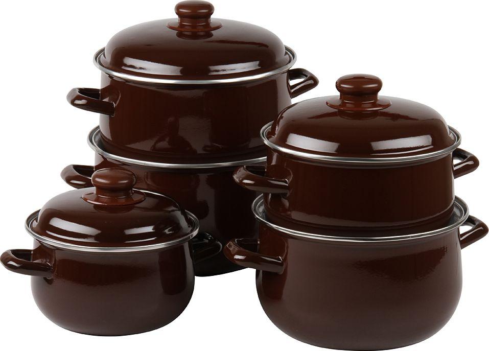 Набор посуды Pomi d'Oro, с крышкой, цвет: коричневый, 5 предметов набор сундучков roura decoracion 26 х 20 х 15 см 2 шт 34791