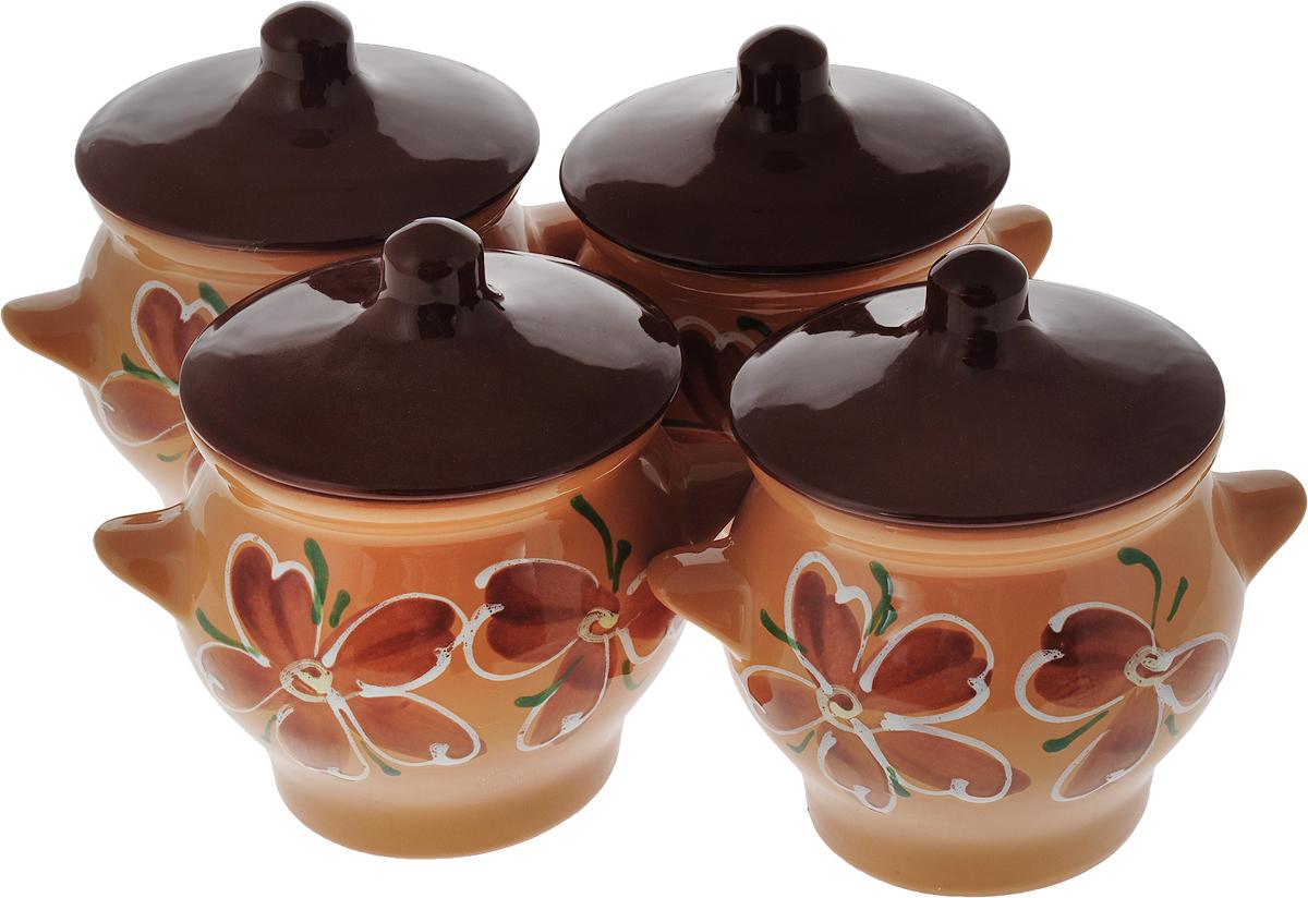 """Набор горшочков для запекания Борисовская керамика """"Стандарт"""", с крышками, цвет: светло-коричневый, коричневый"""
