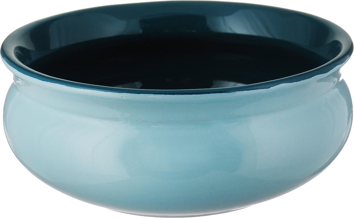 Тарелка глубокая Борисовская керамика Скифская, цвет: мятный изумрудный, 500 мл тарелка глубокая борисовская керамика скифская цвет оранжевый изумрудный 500 мл