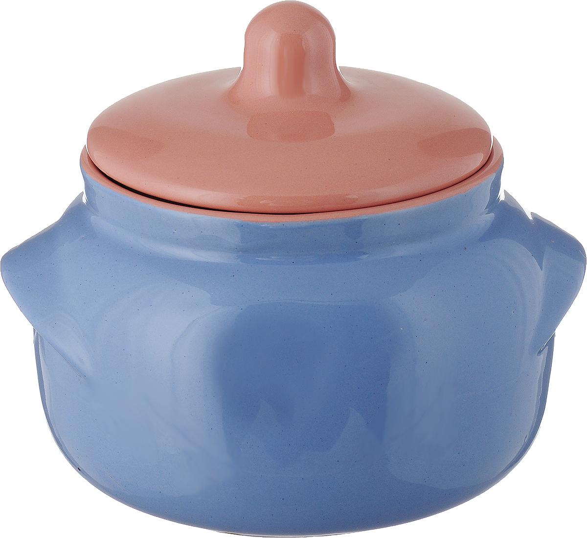 Горшочек для запекания Борисовская керамика Новарусса, цвет: голубой, розовый, 500 мл набор горшочков для запекания борисовская керамика новарусса 4 шт