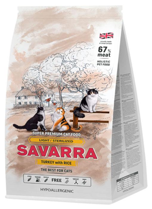 Корм сухой Savarra для взрослых кошек с избыточным весом и стерилизованных, с индейкой и рисом, 400 г5649150Сухой корм Savarra - это гипоаллергенный полнорационный корм для взрослых кошек с избыточным весом и стерилизованных. Изготовлен на основе свежего мяса индейки, как мяса наиболее диетического и нежного, обладающего прекрасной усвояемостью и содержанием питательных веществ. Совершенно очевидно, что польза индейки в том, что ее мясо содержит в большом количестве такие витамины, как А и Е. По содержанию натрия индейка существенно опережает даже говядину и телятину. Именно благодаря натрию происходит пополнение объемов плазмы в крови и обеспечиваются нормальные обменные процессы, что очень важно именно для животных с избыточным весом и стерилизованных. Также в состав корма добавлен L-карнитин - аминокислотное соединение лизина и метионина. L-карнитин оказывает влияние на метаболизм и помогает оптимизировать жировой обмен, что способствует избавлению от лишнего веса. Состав: свежее мясо индейки, дегидрированное мясо индейки, коричневый рис, рис, овес, горох, натуральный ароматизатор, семена льна, жир индейки, витамин А (ретинола ацетат), витамин D3 (холекальциферол), витамин Е (альфа-токоферола ацетат), аминокислотный хелат цинка гидрат, аминокислотный хелат железа гидрат, аминокислотный хелат марганца гидрат, аминокислотный хелат меди гидрат, метионин, таурин, юкка шидигера, глюкозамин, метилсульфонилметан, хондроитин, L-карнитин, яблоко, морковь, помидоры, морские водоросли, клюква, черника. Пищевая ценность: белки - 30%, масла и жиры - 12%, клетчатка - 2%, зола - 8.5%, влаж...