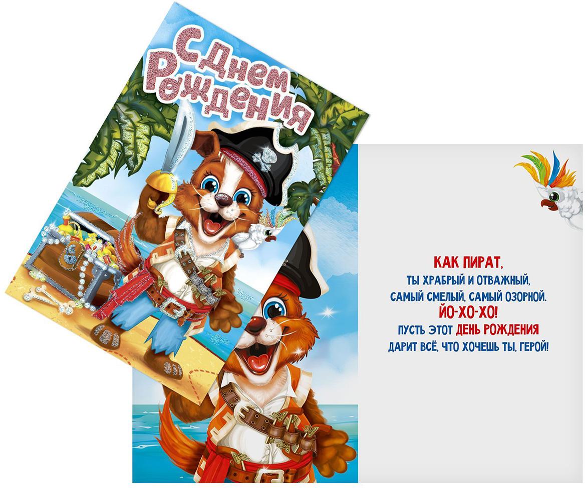 Открытка Дарите Счастье С Днем Рождения. Пес-пират, 12 х 18 см открытка дарите счастье люби стремись мечтай 12 х 18 см