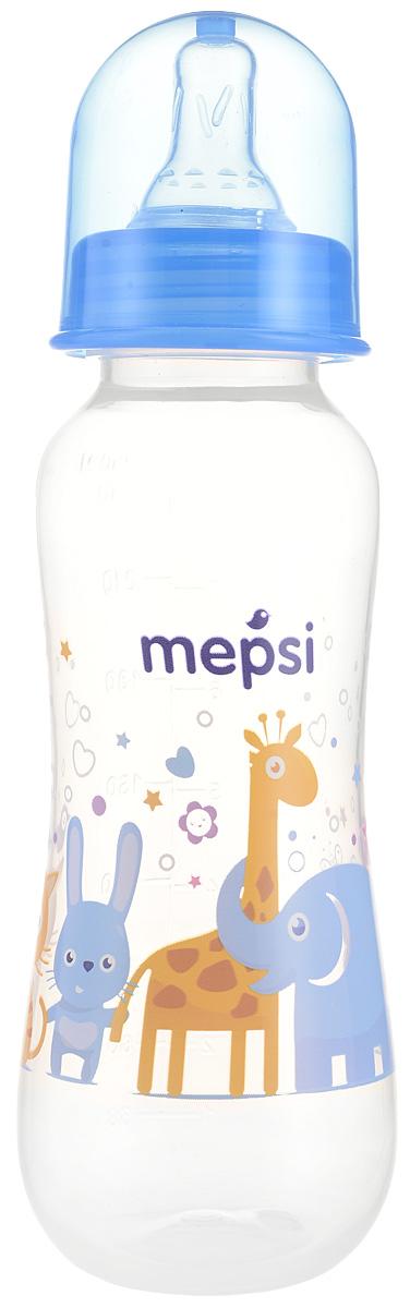 Mepsi Бутылочка для кормления с силиконовой соской от 0 месяцев цвет синий 250 мл lubby бутылочка для кормления с силиконовой соской малыши и малышки от 0 месяцев цвет зеленый голубой 250 мл