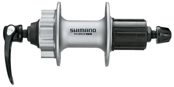 Втулка задняя Shimano Deore M525A, 32 отверстия, 8/9ск, QR, 6-болт, цвет: серебристый втулка задняя shimano m475 36 отверстий 8 9 ск 6 болт qr 166 мм цвет серебристый