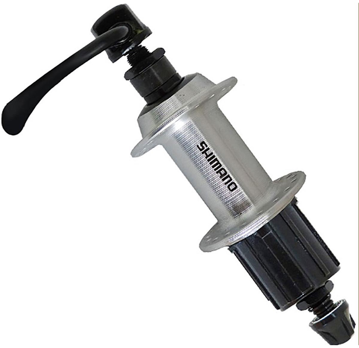 Втулка задняя Shimano TX500, v-br, 36 отверстий, 8/9ск, QR, old: 135 мм, цвет: серебристый втулка задняя shimano m475 36 отверстий 8 9 ск 6 болт qr 166 мм цвет серебристый