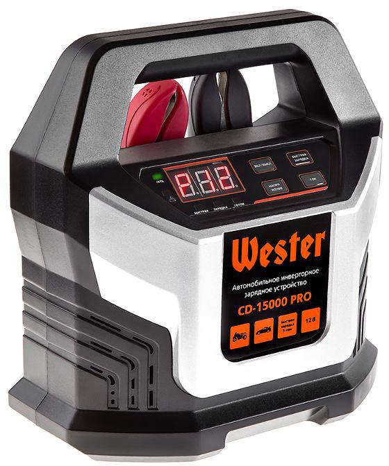 Зарядное устройство Wester CD-15000 PRO, для АКБ 12В, 15А, АКБ до 220Ач зарядное устр во автоматич wester cb15 307вт 12в 10а 7 этапов