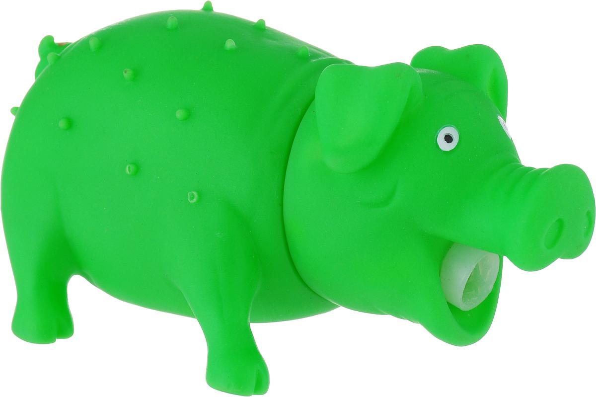 Игрушка для собак Уют Свинья, цвет: зеленый, 16 x 7 см игрушка для собак уют звездочка с шипами цвет салатовый 7 см
