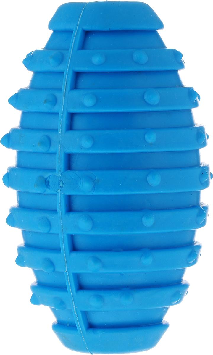 Игрушка для собак Уют Мяч для регби, цвет: голубой, 10 см игрушка для собак уют мяч футбольный цвет белый черный 7 см