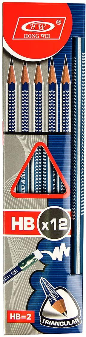Карандаш чернографитный с ластиком твердость HB цвет корпуса синий
