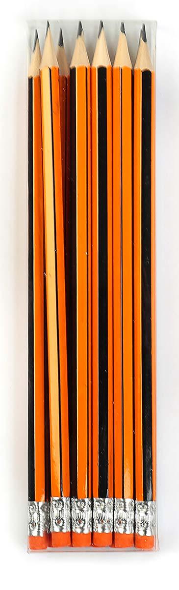 Calligrata Карандаш чернографитный Полоски с ластиком твердость HB цвет корпуса оранжевый черный карандаш чернографитный с ластиком твердость нв цвет корпуса черный желтый