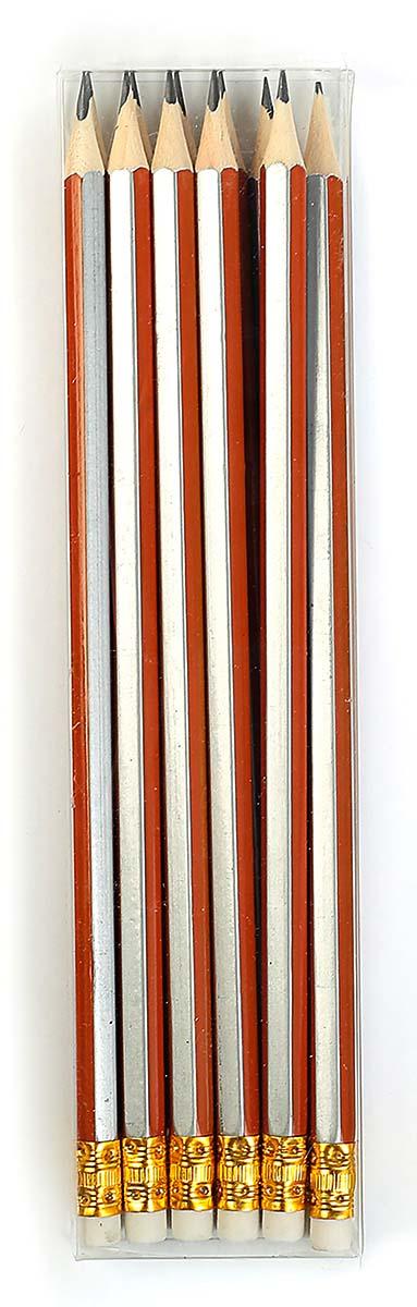 Calligrata Карандаш чернографитный Полоски с ластиком твердость HB цвет корпуса оранжевый серый карандаш чернографитный с ластиком твердость нв цвет корпуса черный желтый