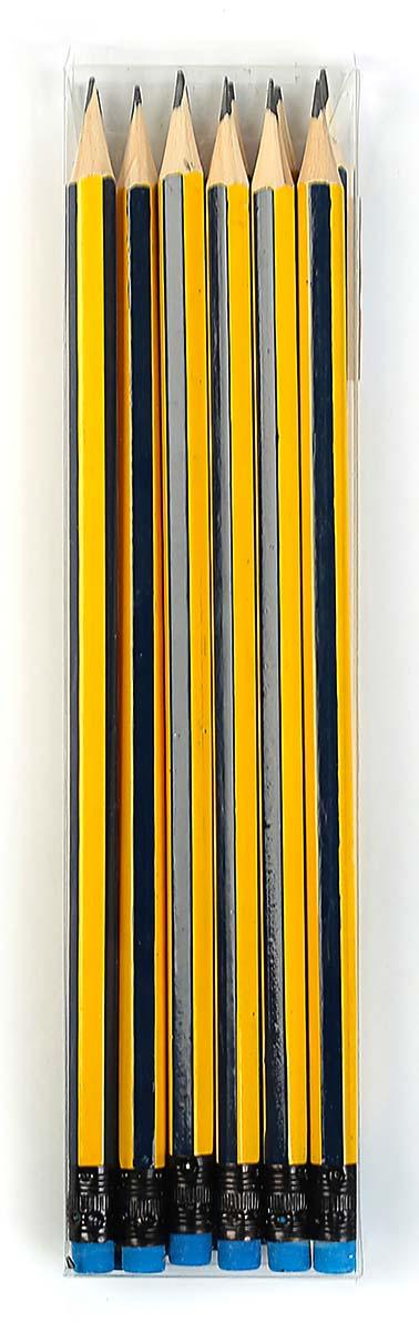 Calligrata Карандаш чернографитный Полоски с ластиком твердость HB цвет корпуса желтый синий 2864372 карандаш чернографитный с ластиком твердость нв цвет корпуса черный желтый